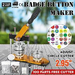 75mm 3 '' Bouton Badge Machine Maker + 100 Boutons Cercle Badge Poinçonneuse