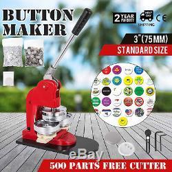 75mm (3) Button Badge Maker Appuyez Sur 500 Pcs Kit De Coupe De Cercle De Boutons Libre