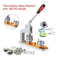 75mm 3 Button Maker Badge Press 300 Pcs Circle Cutter Manuel Making Machine
