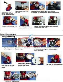 75mm 3 Button Maker Machine Badge Poinçonneuse 100 Pièces Cercle Outil De Coupe