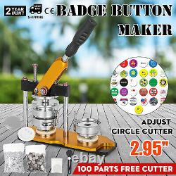 75mm Button Maker Machine 3 Pouces Rotate Badge Make With 100 Sets Circle Button