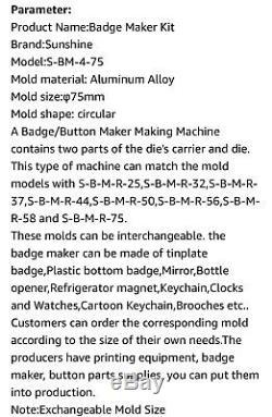 75mm Sunshine Rotation Type Badge Manuel Maker Badge & Bouton Machine Ouvrir La Boîte