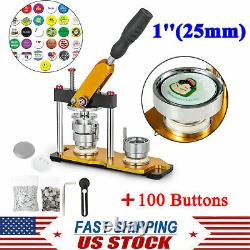 Alliage En Aluminium 1'' 25mm Rotate Button Machine Manual Badge Maker + 100 Boutons