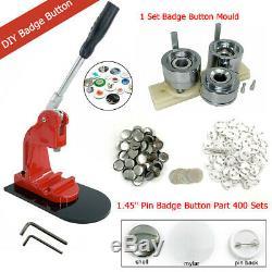 Badge 37mm / 1,45 Pouces Bouton Maker Machine + 400 Jeux + Accessoires Avec Agrafe Die Moule Us