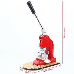 Badge Bouton Maker Maker Making Machine + 500 Die Mold Punch Press Circle Cutter