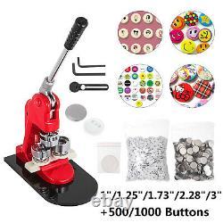 Badge Machine 1/1.25/1.73/2.28/3 Button Maker+100/500/1000/2000pcs Boutons