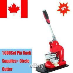 Badge Maker Faire Machine Interchangeable Bouton + Cercle Cutter + 1000pin Retour 25 MM