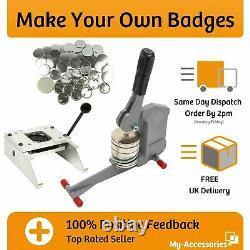 Badge Maker Machine Kit Bouton Insigne Presse Cutter 100 Épingles En Métal Libre 38mm 59mm