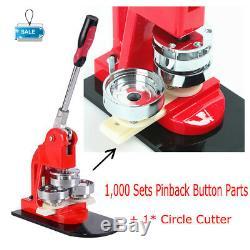 Badge Maker Make Machine Interchangeable Bouton + Coupe Cercle + 1000pin Retour -usa