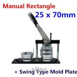 Badge Manuel De Fabricant De Bouton Du Rectangle 25x70mm Faisant La Plaque De Moule De Type Machine + Oscillation