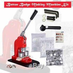 Bouton Badge Maker Moule Machine + 32mm Pin Matière Première 500pcs + Acrylique Circ