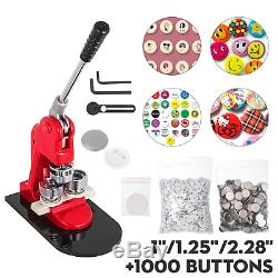 Bouton Badge Maker Poinçonneuse Machine 1 1,25 2,28 1000 Boutons + Cutter Cercle