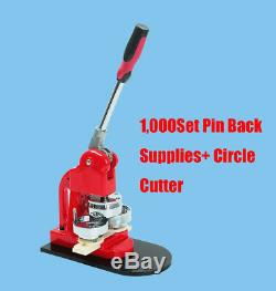 Bouton Badge Maker Poinçonneuse Machine + Fournitures 1000pin Retour Pièces + Cutter Cercle