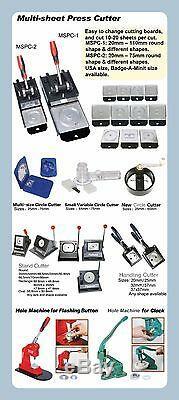 Bouton Bricolage Pro N4 Badge Machine Maker + Ajuster Cercle Cutter + 100 Broches Retour