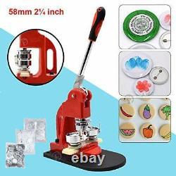 Bouton Rouge Maker Machine 58mm Bouton 2,28 Pouces Badge Maker Pins Poinçonneuse M