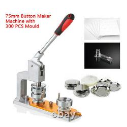 Button Maker Machine+300 Boutons Rectangle Badge Punch Press Pin 75mm