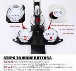 Co-z Bouton Badge Maker Machine Poinçonneuse Pin Maker Multiple Moisissures Die 600