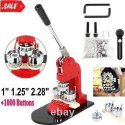 Fabricant De Boutons 1 1.25 2.28 Badge Punch Press Machine 1000 Parts + Coupeur De Cercle