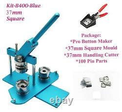 Kit 37x37mm Badge Machine Button Maker-b400 + Moule + 200 Broche + Coupeur De Manipulation
