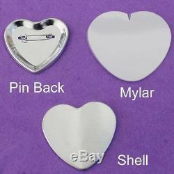 Kit En Forme De Coeur! Badge Button Maker Machine + 100 Pinback Supplies Grande Vente