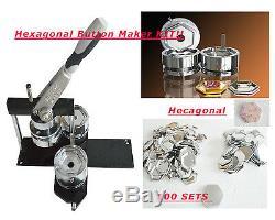Kit Hexagonal De Bricolage! Badge Button Maker Machine + 100 Pin Back Fournitures Cadeau De Fête