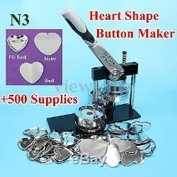 Machine À Fabriquer Des Boutons Avec Badge N3 En Forme De Cœur + 500 Jeux De Broches En Métal