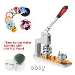 Machine À Presse Bouton Bouton De 3'' Badge Avec Moule De 75mm Et 300-boutons USA