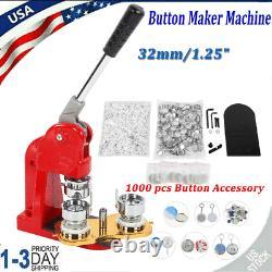 Machine De Fabrication De Boutons De 32mm Pin Boutons Badges Maker Presse +1000 Kits De Cutter