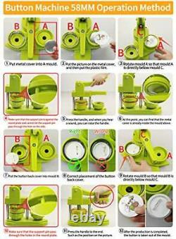 Machine Sans Installation Bouton Badge Maker (21⁄4 Po) Bouton De Bricolage 58mm