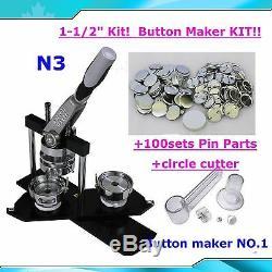N3 1-1 / 2 Kit! Bouton Badge Maker + Cercle Cutter +100 Epingle École Bricolage