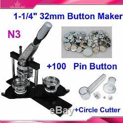 Nouveau Kit 1-1 / 4 32mm! N3 Badge Button Maker Machine + Cercle Cutter + 100 Pin Badge
