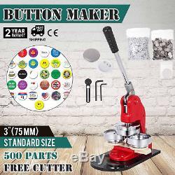 Presse De Badge De Fabricant De Bouton De 75mm 3 Manuel De Coupeur De Cercle De 500 Pcs Faisant La Machine