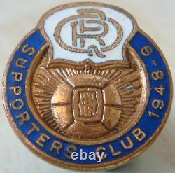 Queens Park Rangers 1948-49 Supporteurs Badge Club Maker H. W Miller Bouton Trou