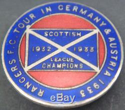 Rangers 1933 Tour De Insigne Allemagne Et Autriche Maker Boutonnières Fattorini Glasgow