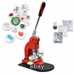 Red Button Maker Machine 32mm 11/4 Dans Button Badge Maker Pins Punch Press Machine