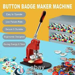 Red Button Maker Machine 32mm 11/4 Pouces Button Badge Maker Pins Punch Press Machin