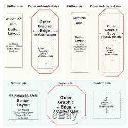 Top Qualité Bouton Rectangle Maker Badge Machine Poinçonneuse 17050mm +300 Pièces