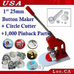 Trousse! 1inch Badge Button Maker + Ajustez Le Cercle De Coupe + 1 000 Set Pin Back Supplies
