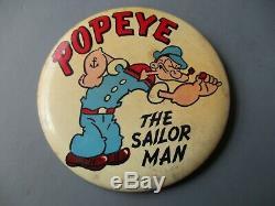 Vintage Popeye Pinback Badge 1940 Bouton Fabricant Rare Kim Et Cioffi 3 1/2 Pouces