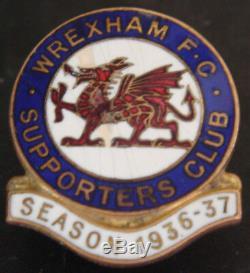 Wrexham Fc Rare 1936-37 Supporters Club Badge Fabricant De Trous Pour Boutons W. Miller B'ham