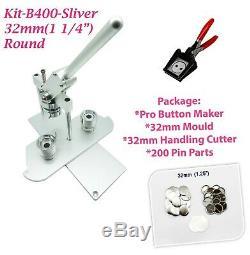 (kit) 32 MM (1 1/4) Machine Badge Bouton Maker-b400 + Moule + 200parts + Manipulation Cutter