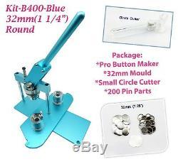 (kit) 32mm (1,25) Pro Badge Bouton Machine Maker B400 + Moule + 200parts + Cercle Cutter