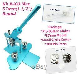 (kit) 37mm (1.5) Pro Badge Bouton Machine Maker B400 + Moule + 200 Parties + Cercle Cutter
