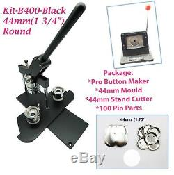 (kit) 44mm (1 3/4) Machine Pro Badge Bouton Maker-b400black + Moule + + 100 Parties