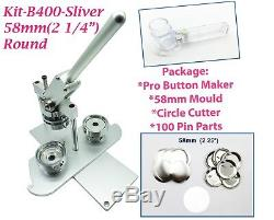 (kit) 58mm (2,25) Pro Badge Bouton Machine Maker B400 + Moule + + Cercle Cutter 100 Parties